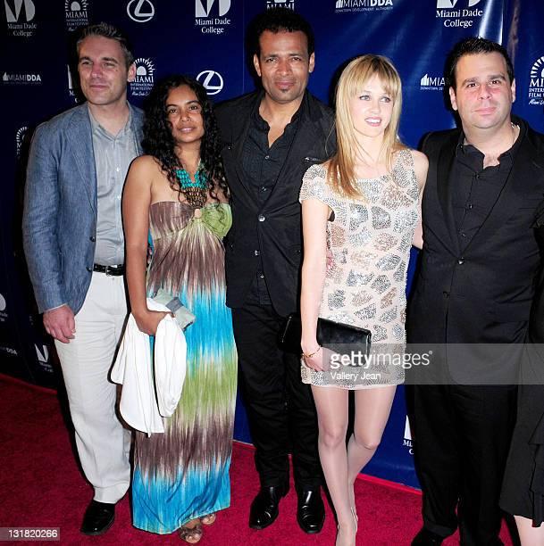 Jaie Laplante Chittra Sukhu Mario Van Peebles Ambyr Childers and Randall Emmett attend the World Premiere of Things Fall Apart at the 2011 Miami...