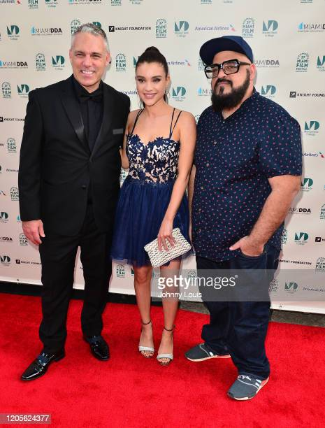 Jaie Laplante Viteri Katalina and director Jokes Yanes from short film 'Carolina' are seen during 37th Annual Miami Film Festival presented by Miami...