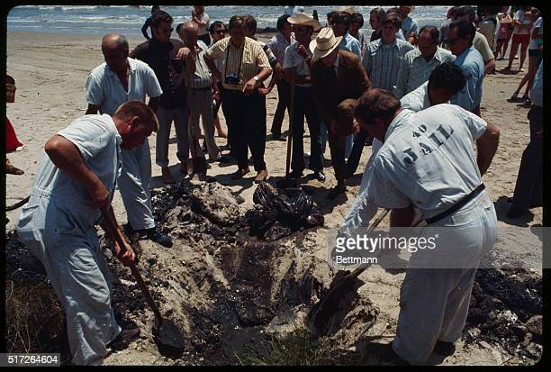 Jail inmates dig for bodies at a Gulf Coast beach 8/10 where they discovered two of the 23 bodies of young boys murdered in a three-year spree of of...