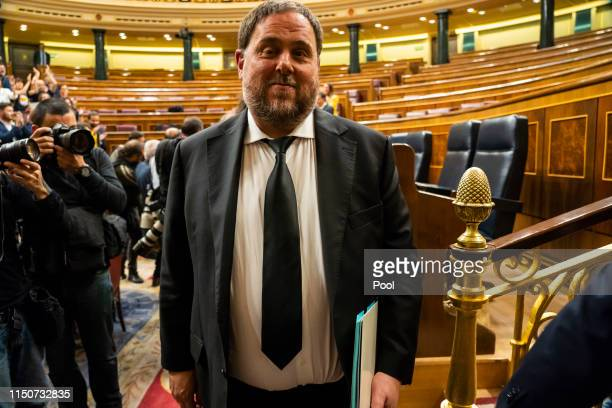 Jailed Catalan separatist leader Oriol Junqueras leaves after the opening plenary session at the Spanish Parliament on May 21 2019 in Madrid Spain...