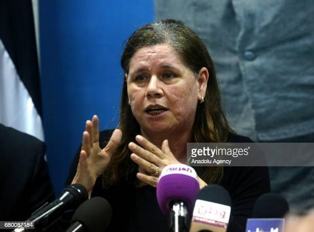 Jailed Fatah leader Marwan Barghouti's wife Fadwa Barghouti speaks during a press conference in Ramallah West Bank on May 7 2017 Marwan Barghouti the...