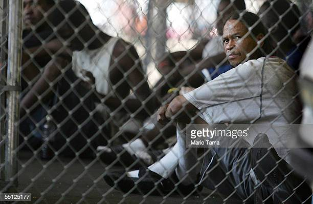 Jailed inmate sits in a temporary prison inside a Greyhound bus terminal September 6, 2005 in New Orleans, Louisiana. About 150 inmates who were...
