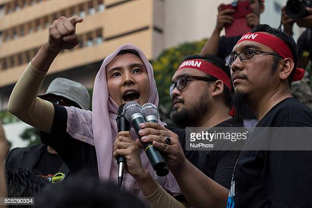 Jailed opposition leader Anwar Ibrahim eldest daughter Nurul Izzah delivers speech to supporters during a protest demand for Anwar's freedom and...