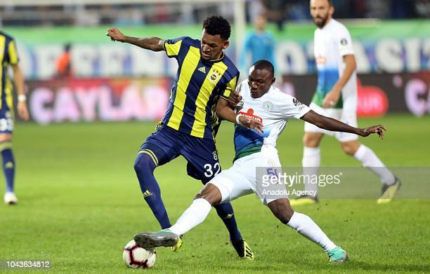 Jailson of Fenerbahce in action against Aminu Umar of Caykur Rizespor during the Turkish Super Lig football match between Caykur Rizespor and...