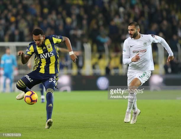 Jailson of Fenerbahce in action against Volkan Findikli of Atiker Konyaspor during Turkish Super Lig soccer match between Fenerbahce and Atiker...