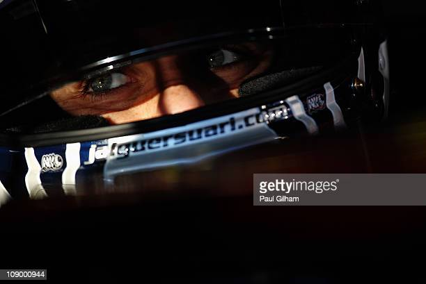 Jaime Alguersuari of Spain and Scuderia Toro Rosso drives during day two of winter testing at the Circuito de Jerez on February 11 2011 in Jerez de...