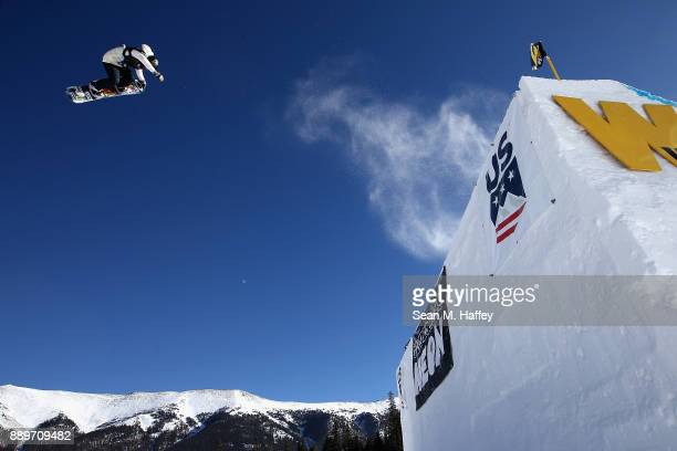 Jaime Anderson of th United States competes in the final of the FIS Snowboard World Cup 2018 Ladies' Big Air during the Toyota US Grand Prix on...