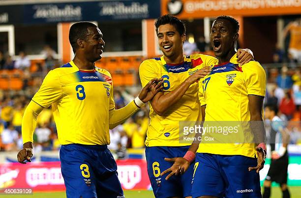 Jaime Ayoví of Ecuador celebrates scoring a goal on Honduras with Frickson Erazo and Christian Noboa during an international friendly match at BBVA...