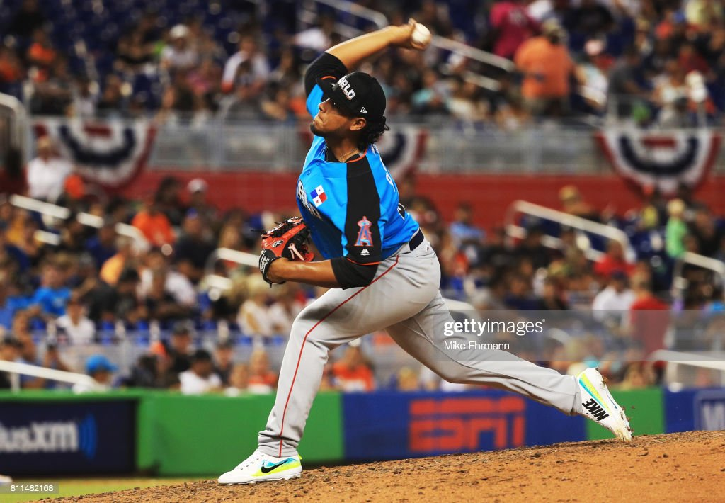 Jaime Barria #31 of the Los Angeles Angels of Anaheim and the World Team delivers the pitch against the U.S. Team during the SiriusXM All-Star Futures Game at Marlins Park on July 9, 2017 in Miami, Florida.