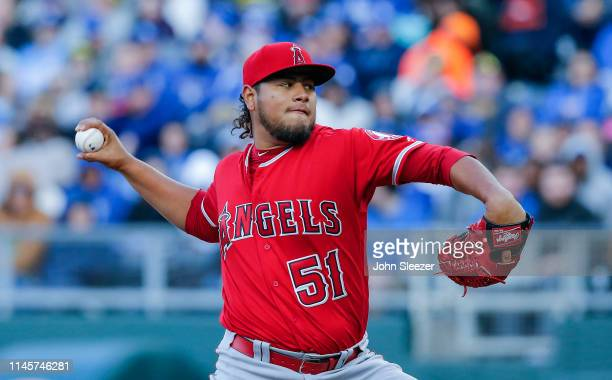 Jaime Barria of the Los Angeles Angels of Anaheim pitches in the second inning during the game against the Kansas City Royals at Kauffman Stadium on...