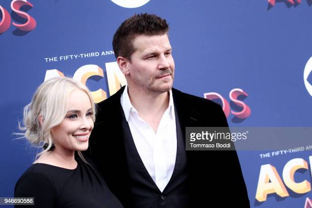 Jaime Bergman and David Boreanaz attend the 53rd Academy of Country Music Awards at MGM Grand Garden Arena on April 15 2018 in Las Vegas Nevada