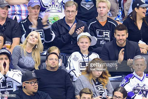 Jaime Bergman Jaden Boreanaz and David Boreanaz attends Game One of the 2014 NHL Stanley Cup Final at the Staples Center on June 4 2014 in Los...
