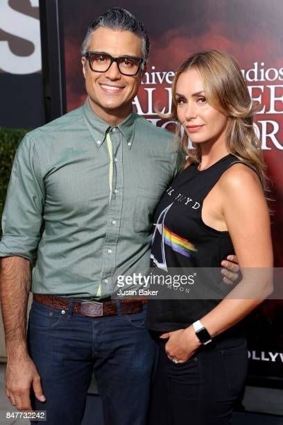Jaime Camil and Heidi Balvanera attend the Universal Studios Halloween Horror Nights Opening Night at Universal Studios Hollywood on September 15...