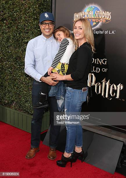 Jaime Camil Elena Camil and Heidi Balvanera attend the Opening Of The Wizarding World Of Harry Potter at Universal Studios Hollywood on April 5 2016...