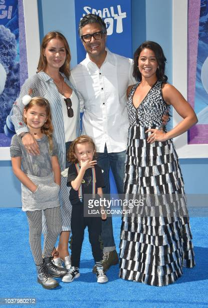 Jaime Camil Heidi Balvanera and Gina Rodriguez attend the 'Small Foot' World Premiere in Los Angeles California on September 22 2018