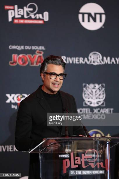 Jaime Camil speaks on stage during the PLATINO Iberoamerican Cinema Awards nominations at Hollywood Roosevelt Hotel on March 21 2019 in Hollywood...