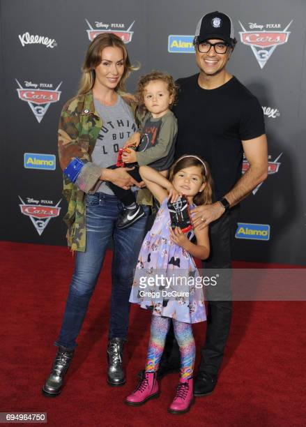 Jaime Camil wife Heidi Balvanera daughter Elena Camil and son Jaime III Camil arrive at the premiere of Disney And Pixar's Cars 3 at Anaheim...