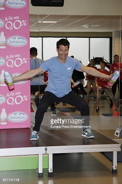 Jaime Cantizano presents Fitness Master Class by Central Lechera Asturiana at GoFit Gym on April 13 2016 in Madrid Spain