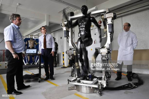 Jaime Cummins of Dstl's Chemical and Biological Physical Protection group checks the Porton Man robot mannequin which will help test the next...