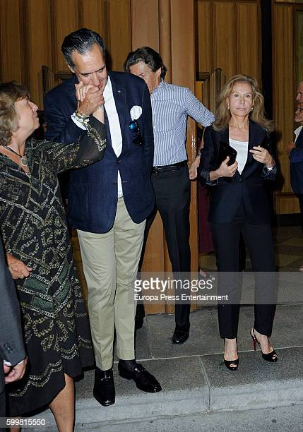 Jaime de Marichalar and Alicia Koplowitz attend the funeral chapel for Duke of Medinaceli Marco De Hohenlohelangenburg y Medina at Jesus de...
