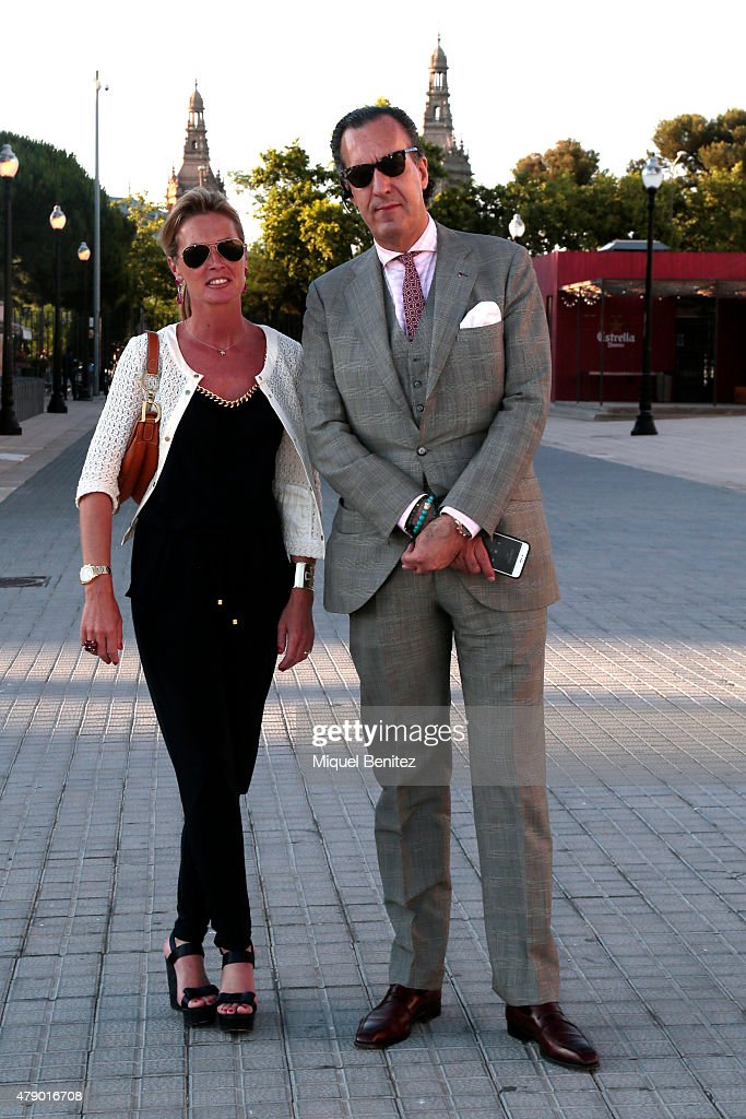 Jaime de Marichalar (R) and Maria Dolors Bergada (L) attend the Mango fashion show at 'Barcelona 080 Fashion Autumn\Winter 2015-2016' at the Olympic Stadium of Barcelona on June 29, 2015 in Barcelona, Spain.