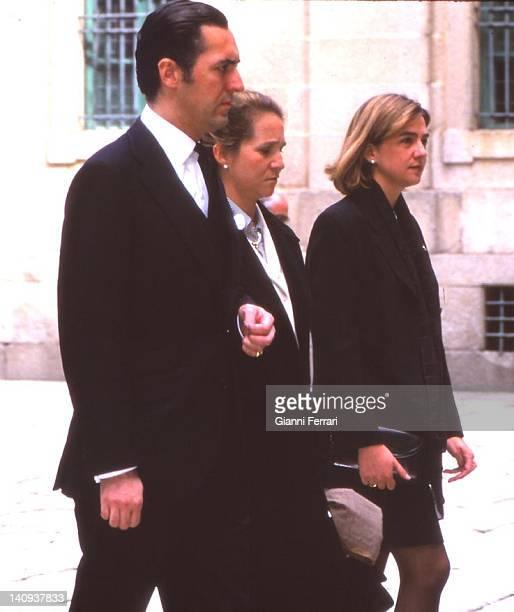 Jaime de Marichalar his wife the Infanta Elena and Infanta Cristina in the memorial of Juan de Borbon father of Spanish King Juan Carlos First April...