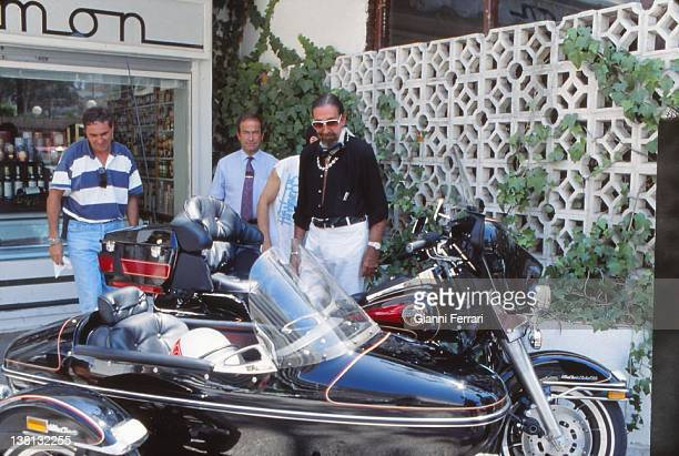 Jaime de Mora y Aragon brother of the Belgian Queen Fabiola with his motorrad Harley Davidson in Marbella Second February 1995 Malaga Spain
