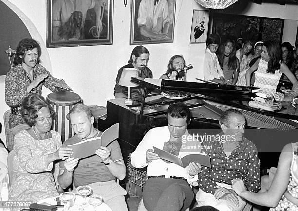 Jaime de Mora y Aragon in his pub 'Le Bistrot' in Fuentes del Rodeo where he played piano Marbella Malaga Spain