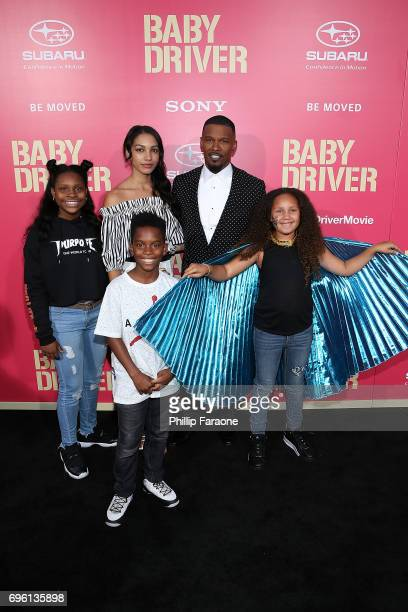 Jaime Foxx daughers Corinne Foxx and Annalise Bishop and Guests attend the premiere of Sony Pictures' 'Baby Driver' at Ace Hotel on June 14 2017 in...