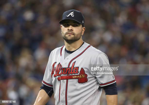 Jaime Garcia of the Atlanta Braves exits the game as he is relieved in the sixth inning during MLB game action against the Toronto Blue Jays at...