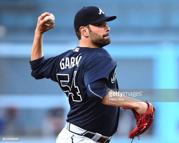 Jaime Garcia of the Atlanta Braves pitches against the Los Angeles Dodgers during the first inning at Dodger Stadium on July 21 2017 in Los Angeles...