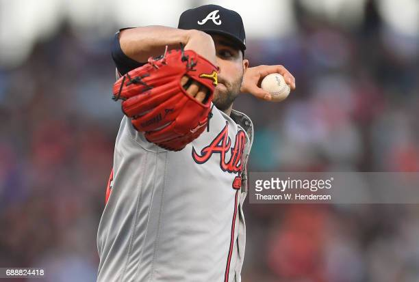 Jaime Garcia of the Atlanta Braves pitches against the San Francisco Giants in the bottom of the second inning at ATT Park on May 26 2017 in San...