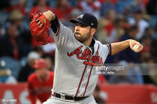 Jaime Garcia of the Atlanta Braves pitches during the first inning of a game at Angel Stadium of Anaheim on May 31 2017 in Anaheim California