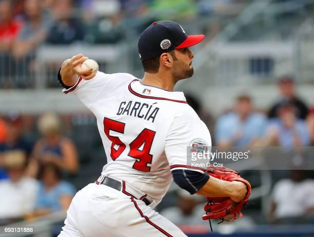 Jaime Garcia of the Atlanta Braves pitches in the first inning against the Philadelphia Phillies at SunTrust Park on June 6 2017 in Atlanta Georgia