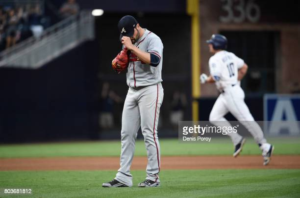 Jaime Garcia of the Atlanta Braves reacts after giving up a tworun home run to Hunter Renfroe of the San Diego Padres during the fifth inning of a...