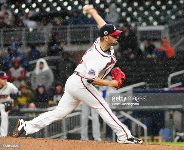 Jaime Garcia of the Atlanta Braves throws a fourth inning pitch against the New York Mets at SunTrust Park on May 4 2017 in Atlanta Georgia