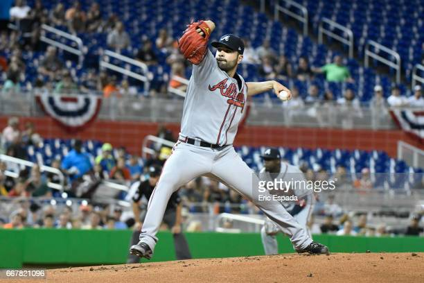 Jaime Garcia of the Atlanta Braves throws a pitch during the first inning against the Miami Marlins at Marlins Park on April 12 2017 in Miami Florida