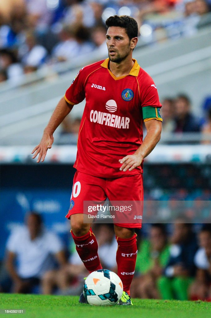 Jaime Gavilan of Getafe CF runs with the ball during the La Liga match between RCD Espanyol and Getafe CF at Cornella-El Prat Stadium on September 29, 2013 in Barcelona, Spain.