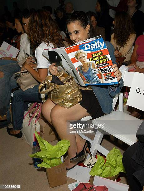 Jaime Gleicher during Olympus Fashion Week Spring 2005 Tracy Reese Front Row and Backstage at Plaza Tent Bryant Park in New York City New York United...