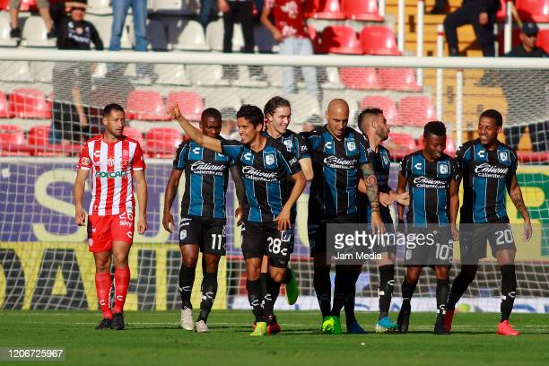 Jaime Gomez of Queretaro celebrates after scoring the first goal of his team during the 6th round match between Neaxa and Queretaro as part of the...