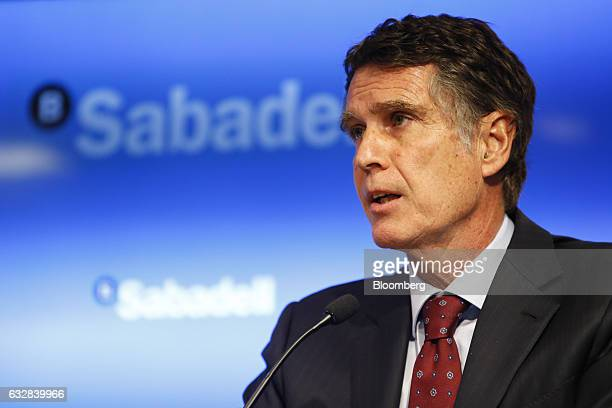 Jaime Guardiola, chief executive officer of Banco de Sabadell SA, speaks during a news conference in Barcelona, Spain, on Friday, Jan. 27, 2017....