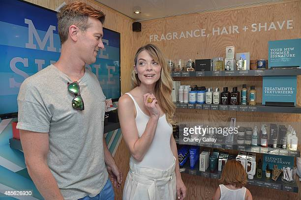 Jaime King and Kyle Newman with son James Newman attend the Birchbox MultiCity Tour Los Angeles at The Grove on August 28 2015 in Los Angeles...