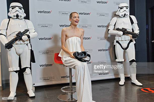 Jaime King attends Rogue One Recon A Star Wars 360 Experience hosted at the Verizon Wireless flagship store on November 10 2016 in Santa Monica...