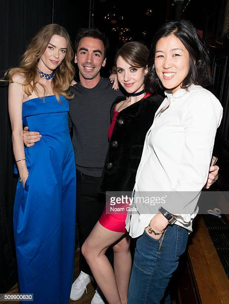 Jaime King Fernando Garcia Alison Brie and Laura Kim pose backstage at the Monse fashion show during Fall 2016 New York Fashion Week at The High Line...