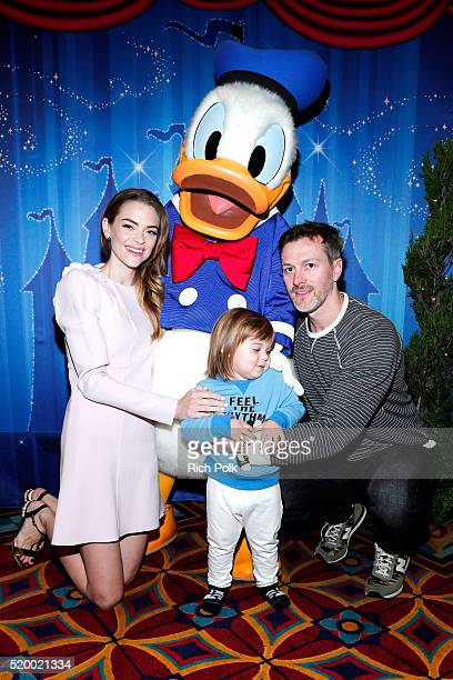Jaime King hangs out with Donald Duck at the PullUps #PottyPartnership launch party at the Disneyland Resort in Southern California and helps...
