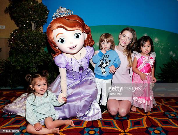Jaime King hangs out with Sofia the First at the PullUps #PottyPartnership launch party at the Disneyland Resort in Southern California and helps...