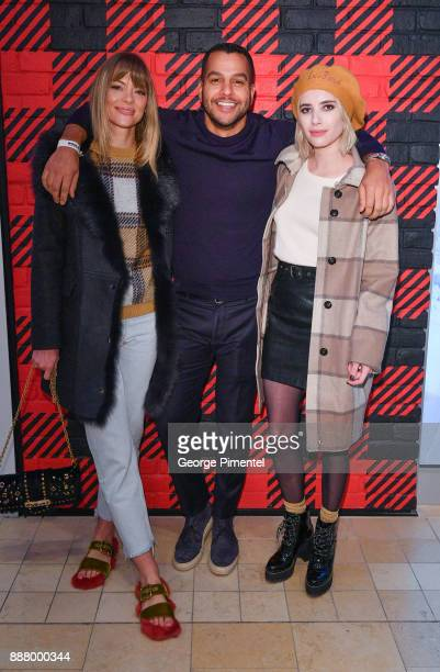 Jaime King Senior Vice President of Woolrich Rocco Venneri and Emma Roberts attend Woolrich Yorkdale Grand Opening at Yorkdale Shopping Center on...