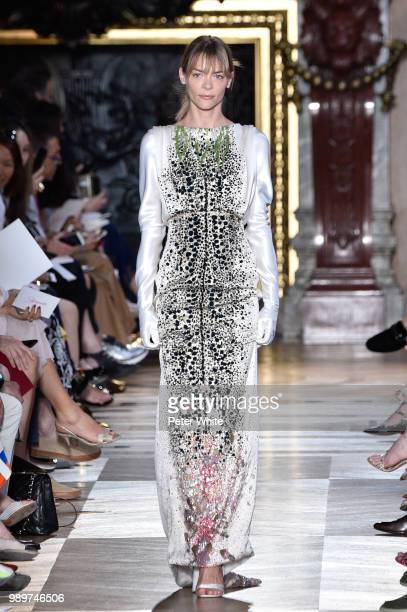Jaime King walks the runway during the Schiaparelli Haute Couture Fall Winter 2018/2019 show as part of Paris Fashion Week on July 2 2018 in Paris...