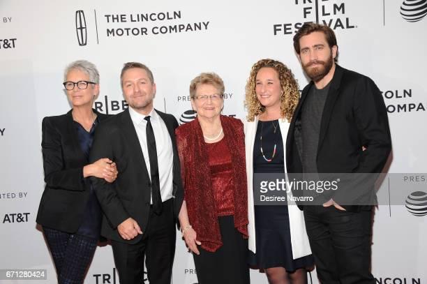 Jaime Lee Curtis, Greg Campbell, Inge Hondros, Riva Marker and Jake Gyllenhaal attend 2017 Tribeca Film Festival 'Hondros' at Cinepolis Chelsea on...