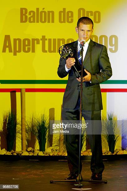 Jaime Lozano of Cruz Azul gives his acceptance speech after receiving the Balon de Oro of best offesive midfielder during a soccer awards ceremony...